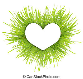 Paper white heart on green grass with copy-space isolated