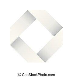Paper white infinite ribbon loop folded in a shape of rhombus. 3D-like vector symbol. Modern icon design
