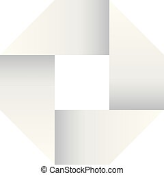 Paper white infinite ribbon loop folded in a shape of square. 3D-like vector symbol. Modern icon design