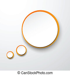 Paper white-orange round speech bubble.