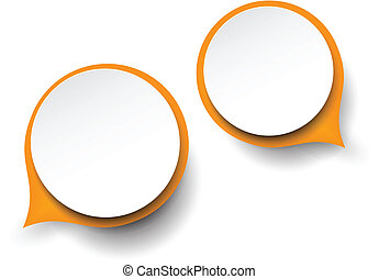 Paper white-orange round speech bubbles. - Vector abstract...