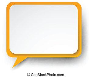 Paper white-orange speech bubble. - .Vector illustration of...