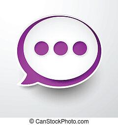 Paper white-purple round speech bubble.