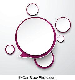 Paper white-purple round speech bubbles.