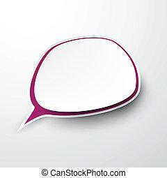 Paper white-purple speech bubble.