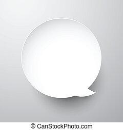 Paper white round speech bubble.