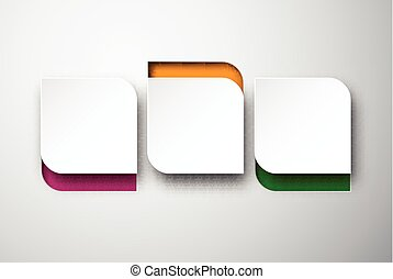 Paper white rounded notes. - Vector illustration of white ...