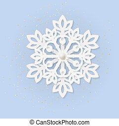 Multilayered paper white volumetric snowflake on blue. Winter season decoration symbol great for New year and Christmas party posters, headers, seasonal wallpaper, winter background. Vector top view
