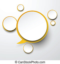 Paper white-yellow round speech bubbles.