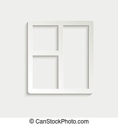 paper window icon vector black sign