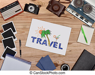 Paper with drawing travel concept