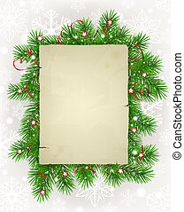Paper with fir branches - Frame of fir branches with ...