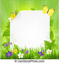 Paper With Flowers And Grass