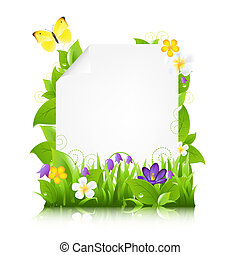Paper With Flowers And Leaves, Isolated On White Background,...