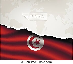 paper with hole and shadows TUNISIA flag - torn paper with...