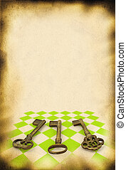 paper with keys - sheet of old paper with retro ornamented ...
