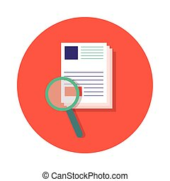 paper with magnifying glass block and flat style
