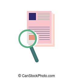 paper with magnifying glass flat style