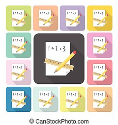 Paper with pencil and ruler Icon color set vector illustration