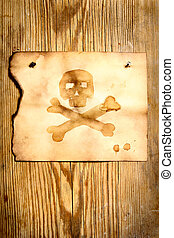 Paper with skull and crossbones - Old paper with skull and...