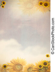 Grunge style paper background with sun flower