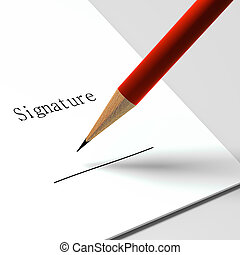 """paper with the words """"signature"""" and pencil"""