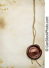 Paper with wax seal - Old paper with wax seal close up