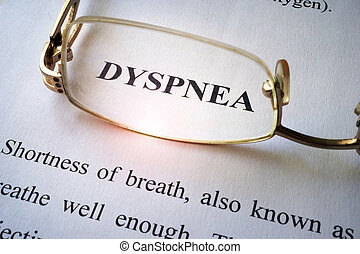 Paper with word dyspnea.