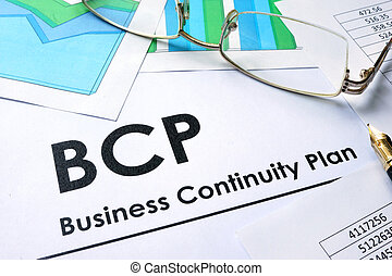 BCP Business Continuity Plan - Paper with words BCP Business...