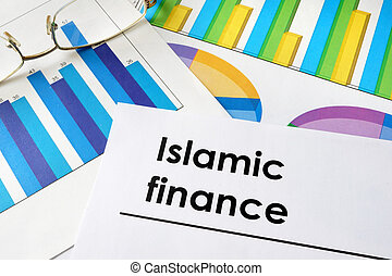 Paper with words Islamic finance and charts.