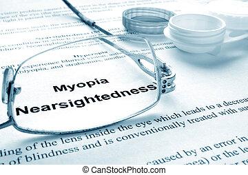 myopia (nearsightedness) - Paper with words myopia (...