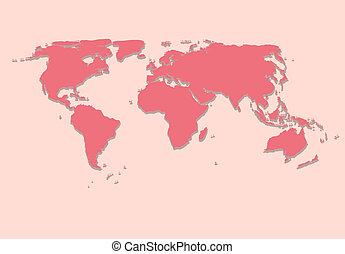 Paper World Map on Pink  Background Vector Illustration