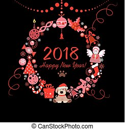 Paper wreath for 2018 New year with funny cut out toys nad puppy