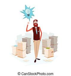 paperasserie, business, lumière, idée, nouveau, papier, ampoule, empilé, document, homme
