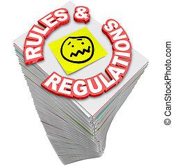 paperasserie, f, règles, directives, règlements, tas, interminable, pile, lois