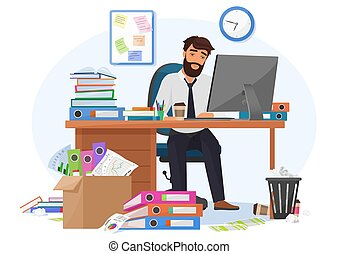 paperasserie, illustration., bureau, fatigué, date limite, ouvrier, travail, somnolent, jeune, surcharge, tard, rapport, vecteur, workplace., reste, homme affaires, mâle, réunion, accablé