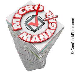 paperasserie, micro, directeur, tas, mots, pile, 3d