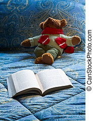 Paperback book open on bed with teddy bear - James Joyce...