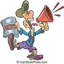 Paperboy selling newspapers shouting through megaphone