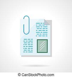 paperclip, bestand, plat, kleur, vector, pictogram