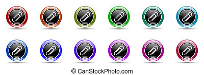 paperclip colorful round web icon set