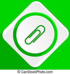 paperclip green flat icon