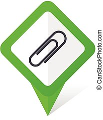 Paperclip green square pointer vector icon in eps 10 on white background with shadow.