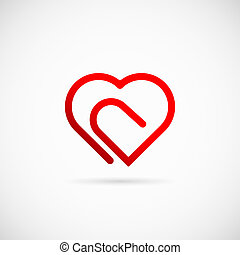 Paperclip Heart Concept Vector Symbol Icon or Logo Template