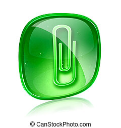 Paperclip icon green glass, isolated on white background