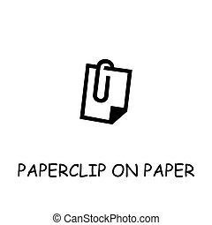 Paperclip On Paper flat vector icon
