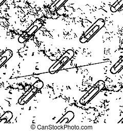 Paperclip pattern, grunge, monochrome