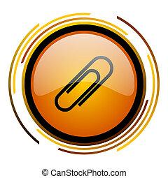 paperclip round design orange glossy web icon