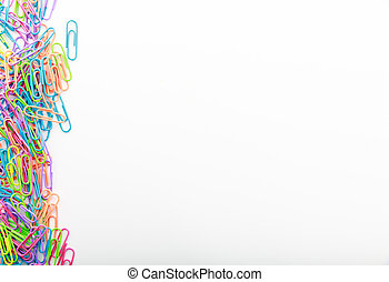 Paperclips on white background