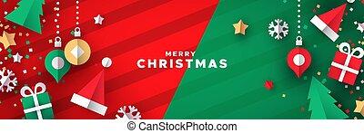 papercut, 休日, 旗, クリスマス装飾